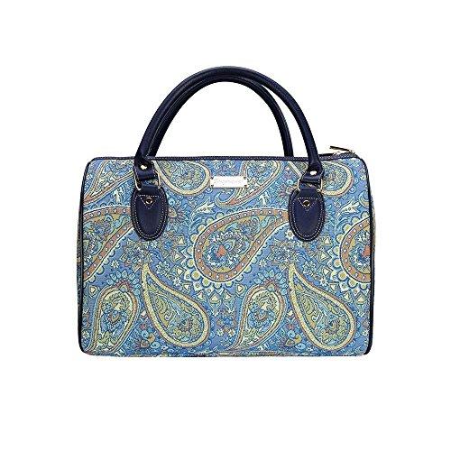 Modische Damen Reisetasche aus Leinen, praktisch fuer Wochenendausfluege ocer Uebernachtungen, im Signare Stil Mode Paisley Paisley Mode