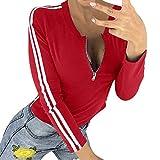 iHENGH Karnevalsaktion Damen Frühling Sommer Top Bluse Bequem Lässig Mode Frauen Blusen reizvolle Damen Reißverschluss Öffnung O Ansatz gestreiftes langes Hülsen T-Shirt Spitzenbluse