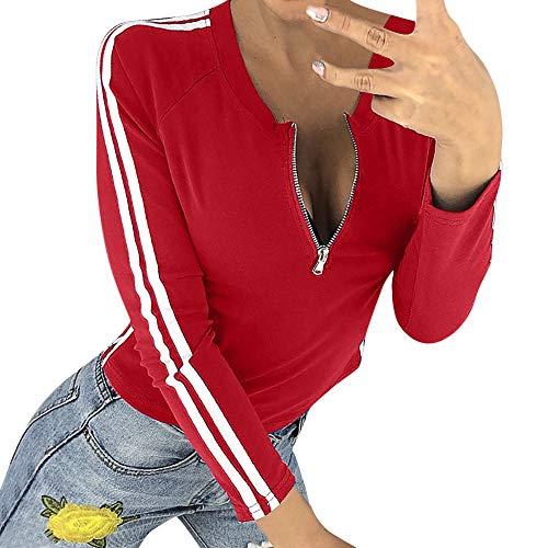 (Damen Oberteile MYMYG Frauen-reizvolle Reißverschluss-öffnende O-Ansatz Gestreifte Lange Hülsen-T-Shirt Spitzenbluse Herbst und Winter Sweatshirt(rot,EU:38/CN-L))