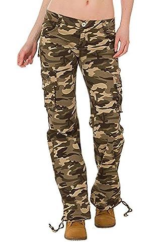 Damen Cargo-Hose - Damen Cargo-Hose im Militär-Stil - Camouflage Dunkelgrün (46) (Damen Cargo-stil Jeans)