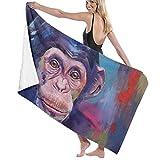 Gebrb Telo Mare Grande,Asciugamano,Telo da Bagno High Absorbency Bath Towel Watercolor Pigment Chimpanzee Lightweight Large Bath Sheet 31 X 51 inch for Beach Home Spa Pool Gym Travel