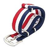 Bracelet de Montre 18mm 20mm 22mm Bracelet Nato Watch Prime Balistique Nylon Bracelet en Acier Inoxydable Boucle Bande Montre avec 4 Barres de Printemps et Outil de Suppression de Liens (20mm, Bleu/Rouge/Blanc)