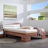 Pharao24 Bett in Weiß Nussbaum 140x200