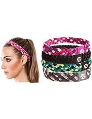 Cintas de pelo Sternitz - Trenzadas - Antiresbalante - Perfectas para Yoga - Pilates - Running. Headbands (Rosa)