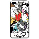 ZZHOO Compatible with iPhone 7/8 Plus Case, Animal And Food Themed Composition Crazy Festive Doodle Panda Bird Cat Watermelon,Rubber Anti-Scratch Shock Absorption Protective Phone Cover