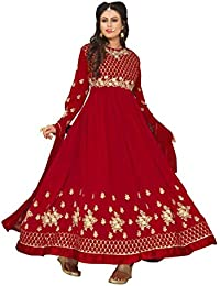 4Fashion Empire Women's Georgette Embroidered Red Anarkali Semi Stitched Salwar Suit (4FE_ER10477)