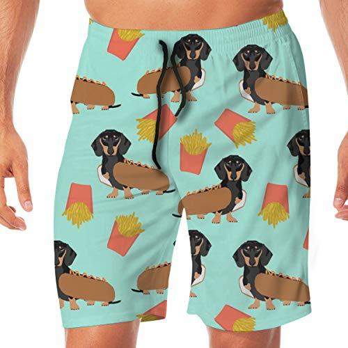 Dackel Hot Dog und Pommes Frites Food Funny Dog Kostüm Netter Hund Wiener Dog_63 Männer Badehose Surfen Strand Urlaub Party Badeshorts Strandhosen ()