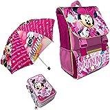 Kit Scuola 3 in 1 School Promo Pack Zaino Estensibile + Astuccio 3 Zip Accessoriato + Ombrello Salvaspazio Disney MINNIE Edizione Nuova