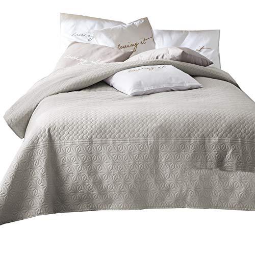 JEMIDI Tagesdecke 200cm x 220cm Bettüberwurf Bettüberwurf Sofaüberwurf Bett Decke gesteppt Tages Tagesdecken Betthusse Beige