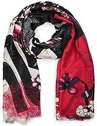d5d9039ea606ca styleBREAKER Damen Schal mit Blumen, Vögel Ornament Muster und Fransen,  Stola, Tuch 01017086