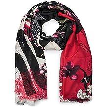 styleBREAKER Châle pour femme avec motif ornemental mélangé à fleurs et  oiseaux et franges, écharpe 5da4fc010bf