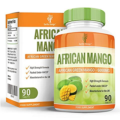 African Mango - 6000mg Pure Irvingia Gabonensis Extract - Maximum Strength Green Mango Supplement For Men & Women - Suitable for Vegetarians- 90 Tablets (3 Months Supply) Vegetarian by Earths