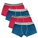 Fabio Farini 4er-Pack Herren Boxershorts aus Baumwolle und mit Komfortbund, in Verschiedenen Farb-Sets, Rot/Blau, Größe: L