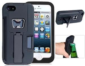 Allcase® Multifunctional hülle mit Stand & Flaschenöffner für iPhone 5 / 5G / 5S (Schwarz)