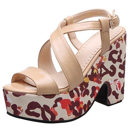 COOLCEPT Femme Mode Bout Ouvert Sandales Talon Bloc Slingback Chaussures apricot