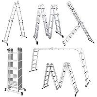 LARS360 5.5M Leiter Mehrzweckleiter Klappleiter Gelenkleiter mit Plattform 4x5 Sprossen Aluleiter Multifunktionsleiter Kombileiter 6 in 1 Anlegeleiter Stehleiter aus hochwertigem Alu belastbar bis 150 kg (4X5 Stufen mit plattform)