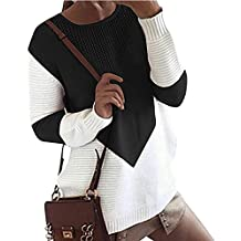 ASSKDAN Femme Automne Hiver Pull En Tricot Mi-Longue Col Rond Pullover Sweater Chaud