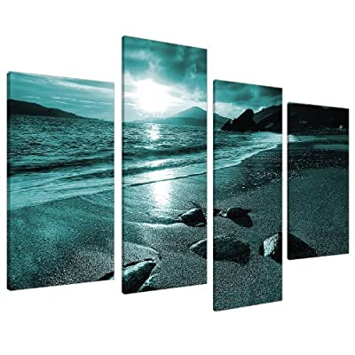 Large Teal Landscape Canvas Wall Art Pictures XL 130cm Prints Set 4079 produced by Wallfillers - quick delivery from UK.