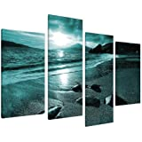 Large Teal Landscape Canvas Wall Art Pictures XL 130cm Prints Set 4079