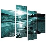 Wallfillers Canvas Kunstdruck auf Leinwand Motiv: Landschafts-Motiv Strand Blau 4079