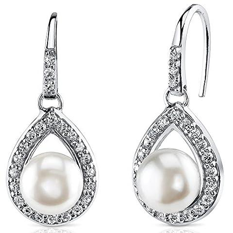 Revoni Alliance avec auréole 8,5 mm Boucles d'oreilles à perles blanches d'eau douce et argent Sterling