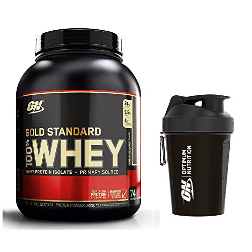 Optimum Nutrition Gold Standard Whey Protein Powder, Double Rich Chocolate, 2.27 kg with Shaker
