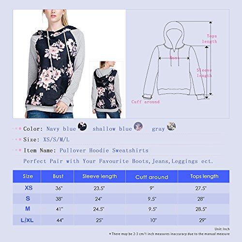 Exlura Damen Hoodie Blumendruck Langarm Casual Pullover Sweatshirts mit Taschen Navy Blau