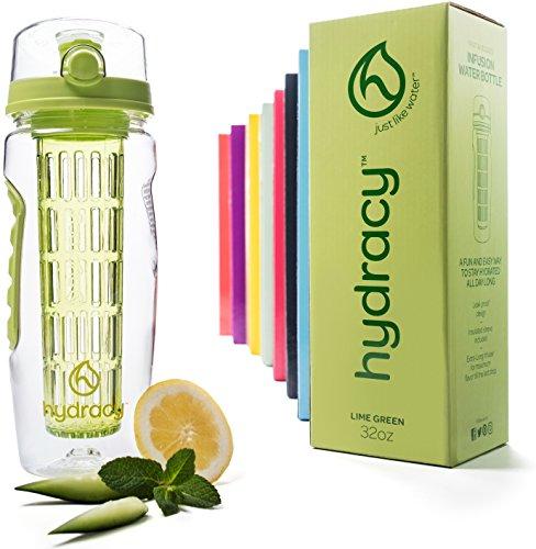 Hydracy Trinkflasche für Fruchtschorlen (946ml) in Verschiedenen Farben, mit langem Infuser und Isolierhülle - 100% dicht und perfekt für Sport & Freizeit - Zitrone Grün
