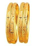 Touchstone Brazalete Dorado colección Indio Bollywood Desire Base de latón Fino Corte de Mano Profundidad India Fina Marca de joyería Pulsera de diseño Conjunto de 4 en Tono Dorado Mujer
