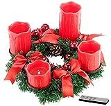 Britesta Weihnachtsdeko-Kranz: Adventskranz mit roten LED-Kerzen, rot geschmückt (Adventkranz)