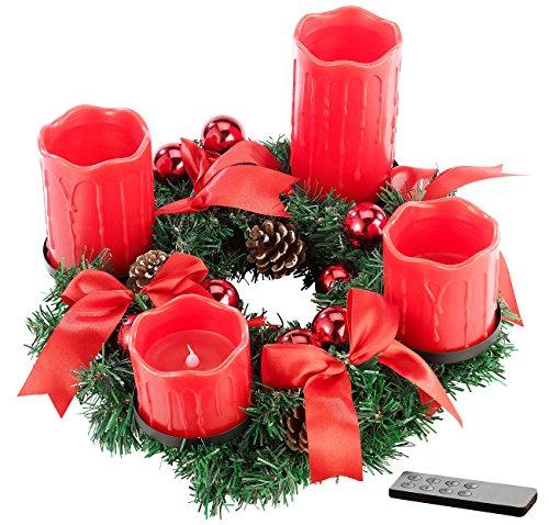 Tannenzapfen-kerze Kranz (Britesta Advent Deko Kränze: Adventskranz mit roten LED-Kerzen, rot geschmückt (Weihnachtsschmuck Tischkränze))