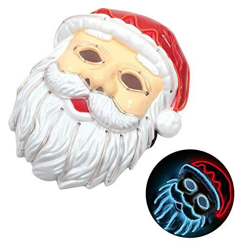 autoecho Santa Claus Maske Weihnachten Cosplay Licht LED Kostüm Maske EL Draht bis Maske für Festival Parteien-Für Glowing Dance Karneval Party Masken Weihnachten Dekoration (Kostüme Bis Weihnachten Licht)