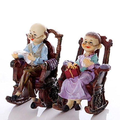 GXFDP 2 Stück Schaukelstuhl Großvater, Großmutter Ornamente Geeignet Für Wohnzimmer, Schlafzimmer Und Weinschrank Harz Handwerk Schmuck Hochzeitsgeschenke