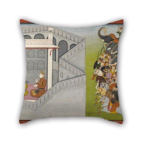 """Ölgemälde zu fattu–Die Belagerung von Mathura von jarasandha aus der Serie guler-basholi """"bhagavatapurana kissenrollen 50,8x 50,8cm/50von 50cm für Eßzimmer, Dan"""