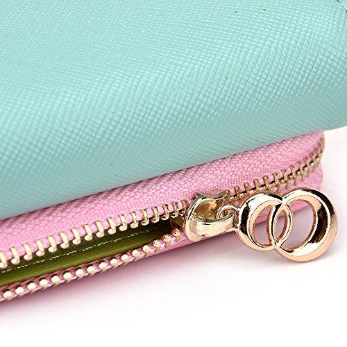 Kroo d'embrayage portefeuille avec dragonne et sangle bandoulière pour Smartphone Motorola Moto X Noir/gris Green and Pink