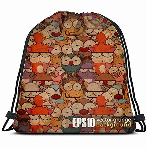 DHNKW eps 10 Vintage Cartoon Animals Wildlife Art Special Backpack Sack Bag Gym Bag for Men & Women 17X14 Inch