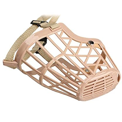 TOOGOO(R) Plastic Basket Adjustable Dog Muzzle Mask Cage Mouth Mesh (Size 5) 5