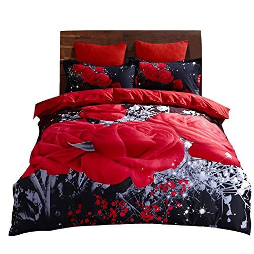 HUIFANGHOUSEHOLD Lagerung Blumenmuster Schleifen Bettwäsche 100% Baumwolle Bett 3-teilig Super Soft - No Fade - Waschbar Rot (Color : Red) - Roten Bett Ensemble
