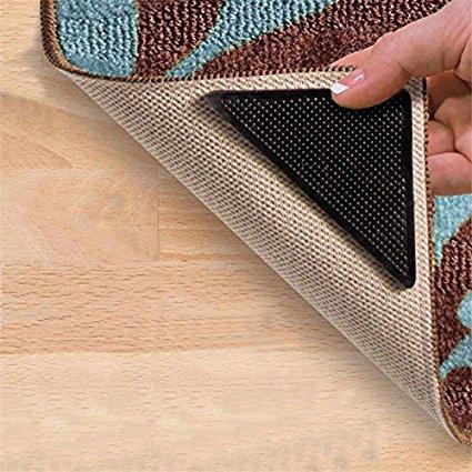 CPEX 8 pcs Non-Slip Rug Grips PU Mats Slip Pad Ruggies Reusable...