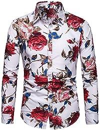 d07fc989ab3a1 SPONSOKT Camisa De Los Hombres Camisa De Flores De Manga Larga De Gran  TamañO Moda Delgada