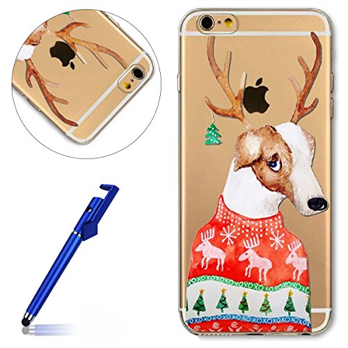 Cover iPhone 6S plus 5.5, Custodia iphone 6 plus, iphone 6S plus Silicone Cover, MoreChioce Varnish Clear Coating Moda Painting Colorato Natale Modello Custodia, Ultra Slim 3d Gel Soft Silicone Gomma Antlers Cane