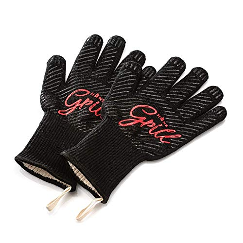 Hans Grill Grillhandschuhe Ofenhandschuhe - Hitzefeste BBQ Handschuhe Topfhandschuhe Professionelle Zertifizierte Küchenhandschuhe 500°C 923°F 1 Paar