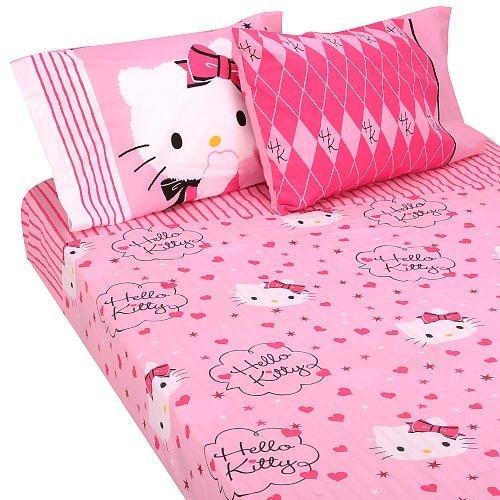 Twin Kitty Hello Sheet Set (Hello Kitty Sweet and Sassy Twin Sheet Set by Franco Mfg)