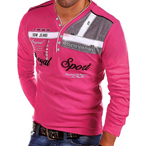 Yvelands Herren Mode T-Shirt Buchstabe Knopf Persönlichkeit Hemd Kurzarm Bluse Tops(Pink,L) - Paintball Olive Weste