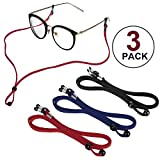 Sports PU Leather Glasses Strap, Zingso 3 Pcs Multi-Color Classic PU Leather Adjustable Eyewear Sunglasses Head Band Eyeglass Chain Lanyard Glasses Strap for Decoration and Sports
