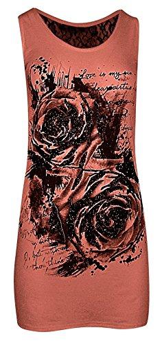 Womens Ladies dentelle dos Sequin Rose imprimé gilet Top Corail