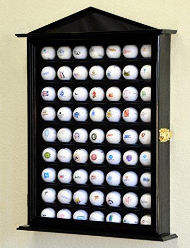 63Golf Ball Designer Display Fall Schrank Wall Rack Halter w/98% UV-Schutz Abschließbar, Schwarz