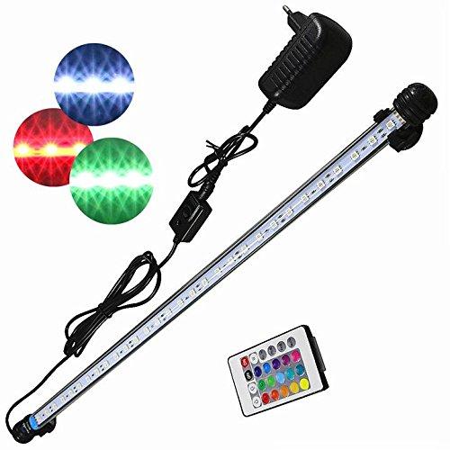 Mingdak Fernbedienendes Aquarium-Licht-Kit für Aquarium, Unterwasser-Kristallglas-Leuchten, geeignet für Salzwasser und Süßwasser, 30 LED, flexibel ändernde Beleuchtungsfarbe, 22,5-Zoll