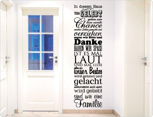 """I-love-Wandtattoo 11498 Wandtattoo Spruch\""""In diesem Haus wird gelebt\"""" Wanddekoration (Braun, 55 x 200 cm)"""