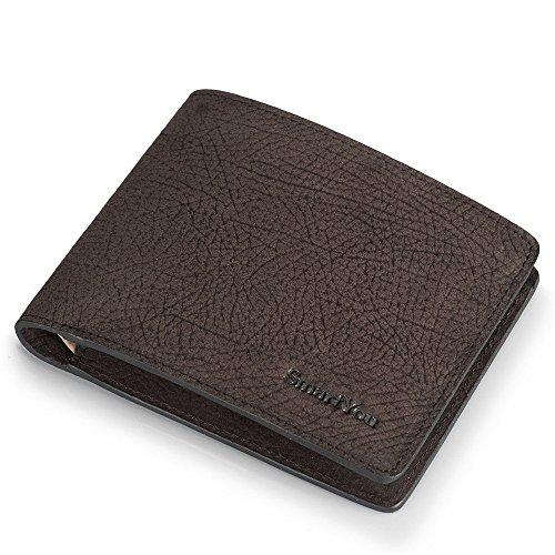 Herrenbrieftasche Leder Brieftaschen Business Geschenk geben kostenlose Gravur Service Durable Zero Wallet Handtasche Card Bag Business Casual tägliche Clutch - Natur Talkum-puder